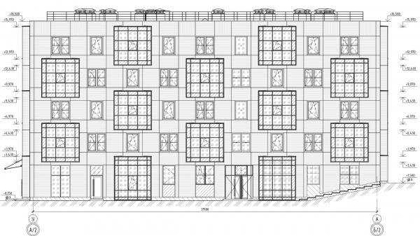 Кампус университета ИТМО. Общежития. Первый блок. Фасад А-У © Студия 44