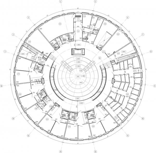 Кампус университета ИТМО. Общежития. Третий блок. План первого этажа © Студия 44