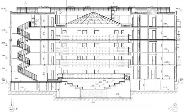 Кампус университета ИТМО. Общежития. Третий юлок. Разрез 2 © Студия 44