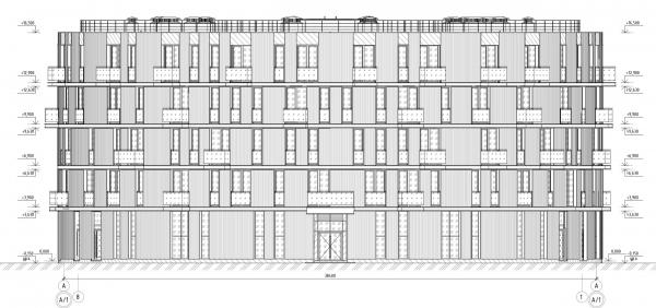 Кампус университета ИТМО. Общежития. Третий блок. Разрез 8-1 © Студия 44