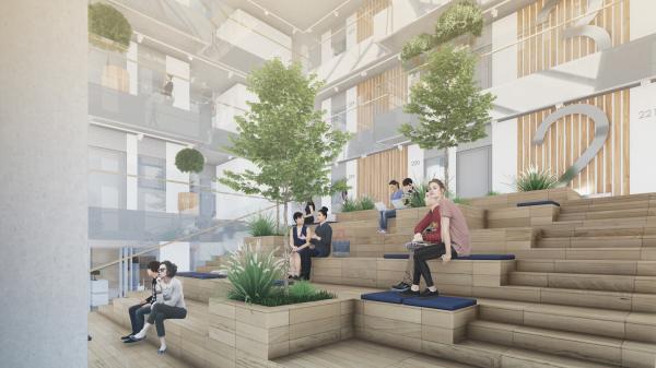 Кампус университета ИТМО. Интерьер общежития, амфитеатр © Студия 44