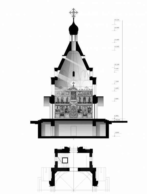 Section view with the painting plan. Church of the Beheading of John the Baptist at the Novodevichy Convent Copyright: © Utkin Studio