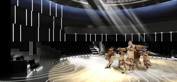 Интерьер зала театра Олонхо. Концепция интерьеров Государственной филармонии Якутии. Арктический центр эпоса и искусств. г. Якутск © United Riga architects (URA)