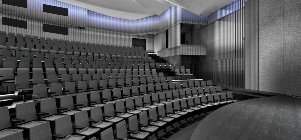 Интерьер зала театра Саха. Концепция интерьеров Государственной филармонии Якутии. Арктический центр эпоса и искусств. г. Якутск © United Riga architects (URA)
