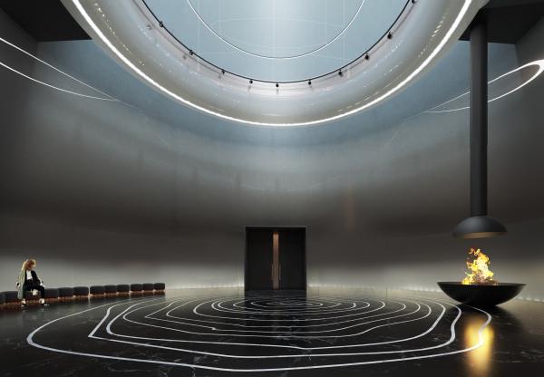 Обрядово-выставочный зал. Концепция интерьеров Государственной филармонии Якутии. Арктический центр эпоса и искусств. г. Якутск © United Riga architects (URA)