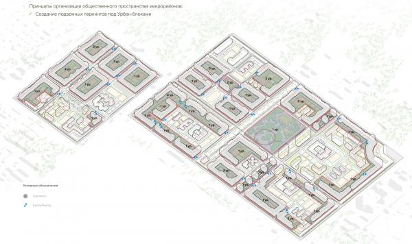 Схема расположения подземных паркингов. Разработка архитектурно-градостроительной концепции развития городского округа «Город Южно-Сахалинск» © UNK project