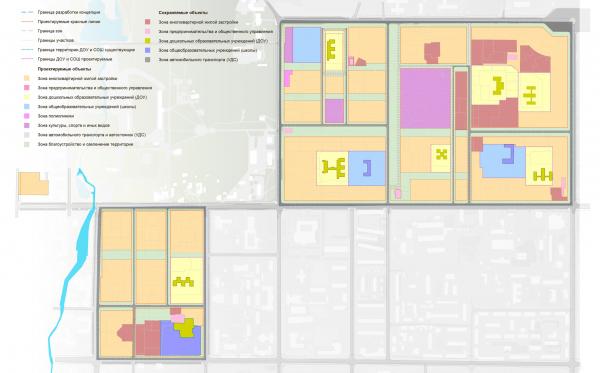 Схема расположения элементов планировочной структуры. Разработка архитектурно-градостроительной концепции развития городского округа «Город Южно-Сахалинск» © UNK project