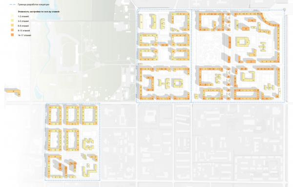 Схема этажности. Разработка архитектурно-градостроительной концепции развития городского округа «Город Южно-Сахалинск» © UNK project