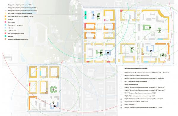 Схема размещения объектов социальной инфраструктуры. Разработка архитектурно-градостроительной концепции развития городского округа «Город Южно-Сахалинск» © UNK project