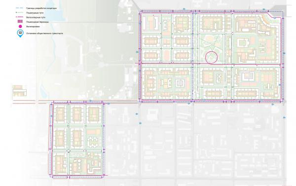 Схема организации движения пешеходов. Разработка архитектурно-градостроительной концепции развития городского округа «Город Южно-Сахалинск» © UNK project