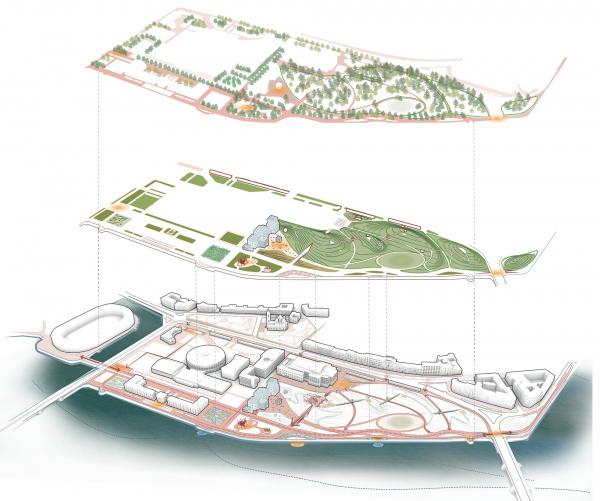 Романтический парк «Тучков буян». Биоразнообразие, система парка, контекст © Студия 44, West 8