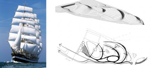 Холмистый искусственный рельеф парка авторы ассоциируют с корабельными парусами. Романтический парк «Тучков буян» © Студия 44, West 8