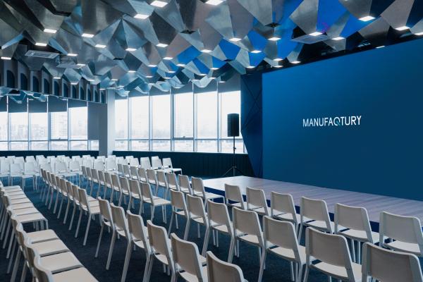 Зал мероприятий. Офисы класса А с сервисом коворкинга MANUFAQTURY Фотография © Борис Бочкарев