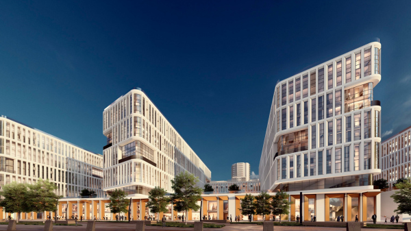 Архитектурно-градостроительный облик гостиницы. Вариант 11-7 этажей © Архитектурное бюро «А.Лен»