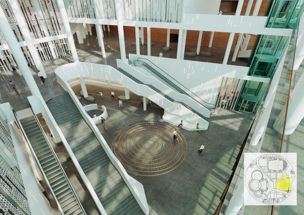 Предварительный дизайн-проект интерьера Государственной филармонии Якутии и Арктического центра эпоса и искусств.  Вестибюль. 5 этаж © ТПО «Резерв»