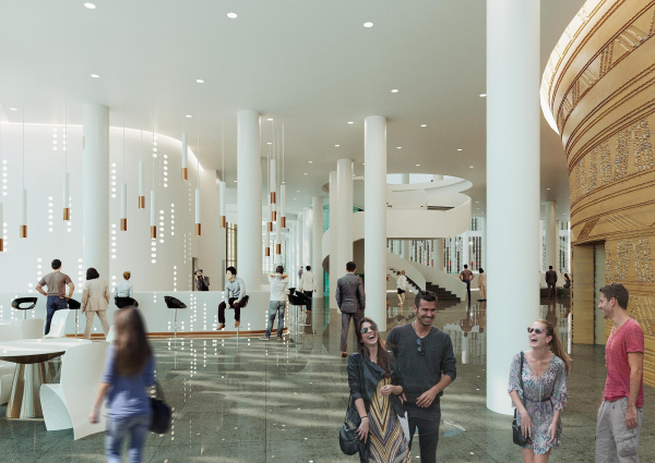Предварительный дизайн-проект интерьера Государственной филармонии Якутии и Арктического центра эпоса и искусств.  Фойе филармонии. 3 этаж. Вид 1