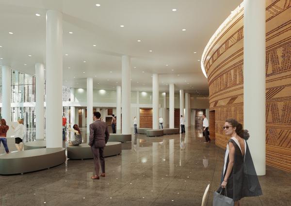 Предварительный дизайн-проект интерьера Государственной филармонии Якутии и Арктического центра эпоса и искусств.  Фойе филармонии. 3 этаж. Вид 2