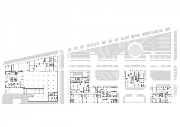 План 1 этажа. Комплексы В3 и А5 жилого квартала «Спутник» © АМ Сергей Киселев и Партнеры