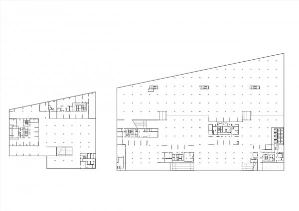 План -1 этажа. Комплексы В3 и А5 жилого квартала «Спутник» © АМ Сергей Киселев и Партнеры