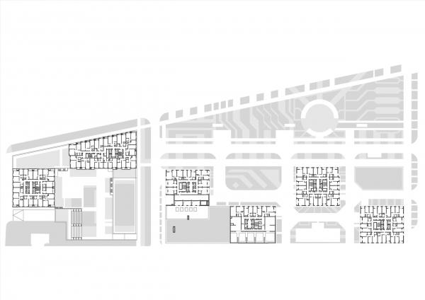 План 3 этажа. Комплексы В3 и А5 жилого квартала «Спутник» © АМ Сергей Киселев и Партнеры