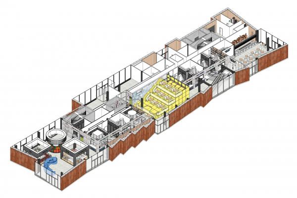 Аксонометрия 1-го  этажа. Чертаново гастромаркет © MODUL ab