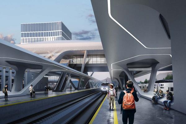 Вокзал Алматы, проект, 2019 © ATRIUM