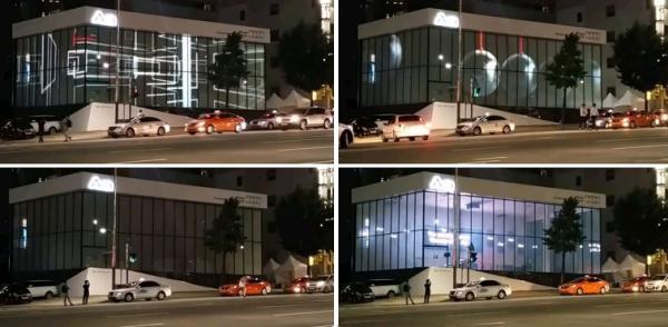 Автосалон AUDI, Корея, Сеул. Медиа-фасад выполнен на базе смарт-стекла Корейского производителя компании DMDisplay   Предоставлено Private Glass