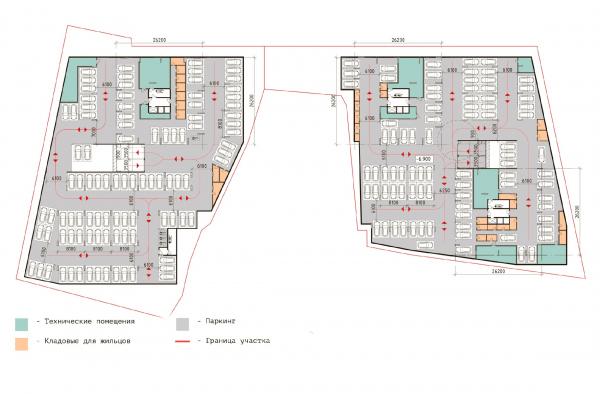 План парковки -2 этаж. ЖК «В самом сердце Пушкино» © Крупный план