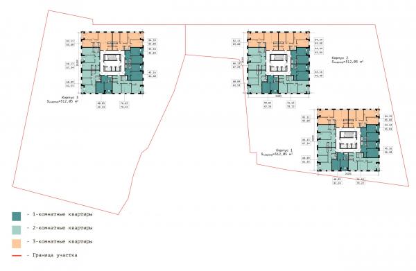 План нижнего типового этажа. ЖК «В самом сердце Пушкино» © Крупный план