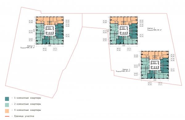 План верхнего типового этажа. ЖК «В самом сердце Пушкино» © Крупный план
