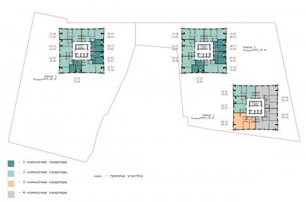 План 16-ого этажа. ЖК «В самом сердце Пушкино» © Крупный план