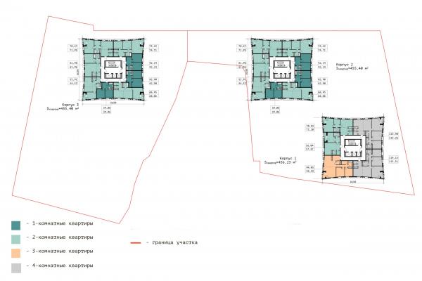 План 17-ого этажа. ЖК «В самом сердце Пушкино» © Крупный план