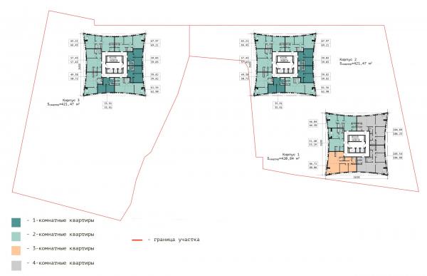 План 18-ого этажа. ЖК «В самом сердце Пушкино» © Крупный план
