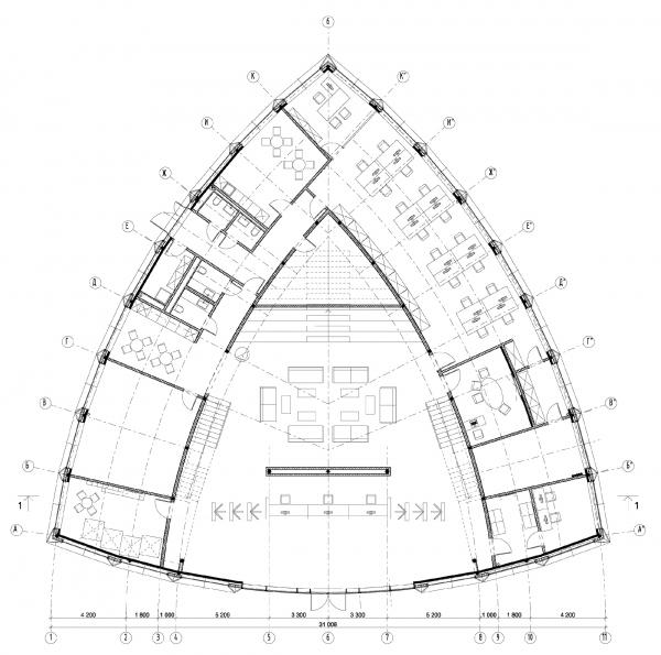 План 1-го этажа. Офис продаж ЖК «Переделкино ближнее» © Studio-TA