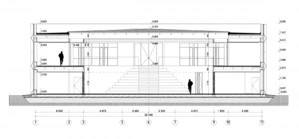 Разрез 1-1. Офис продаж ЖК «Переделкино ближнее» © Studio-TA