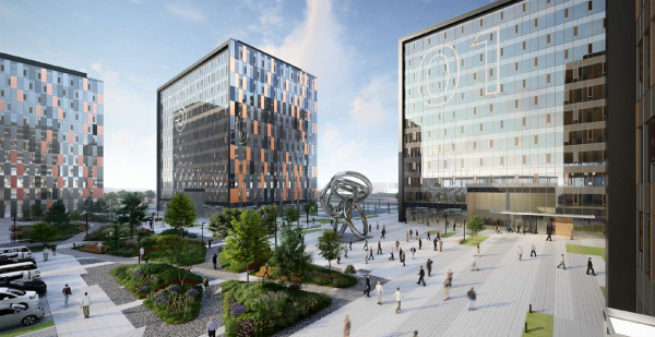 Ostankino Business Park. View fromm the pedestrian promenade Copyright: © UNK Group