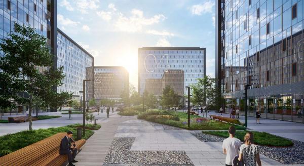 "Ostankino Business Park. The quiet zone. Version 1. ""Islands"" Copyright: © UNK Group"
