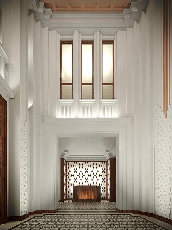 The hallway interior. Variant, view 1. ID Moskovskiy Copyright: © Liphart Architects