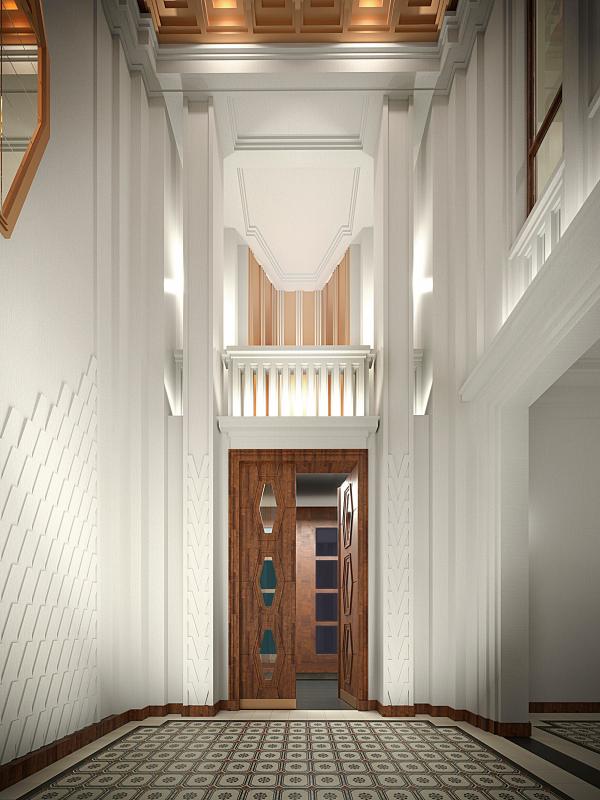 The hallway interior. Variant, view 4. ID Moskovskiy Copyright: © Liphart Architects