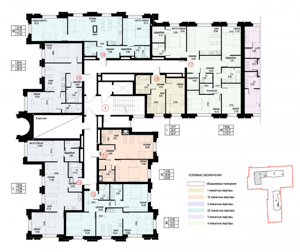 Section 1, plan of the 2nd floor. ID Moskovskiy Copyright: © Liphart Architects