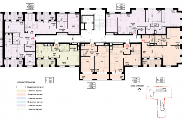 Section 2, plan of the 9th floor. ID Moskovskiy Copyright: © Liphart Architects