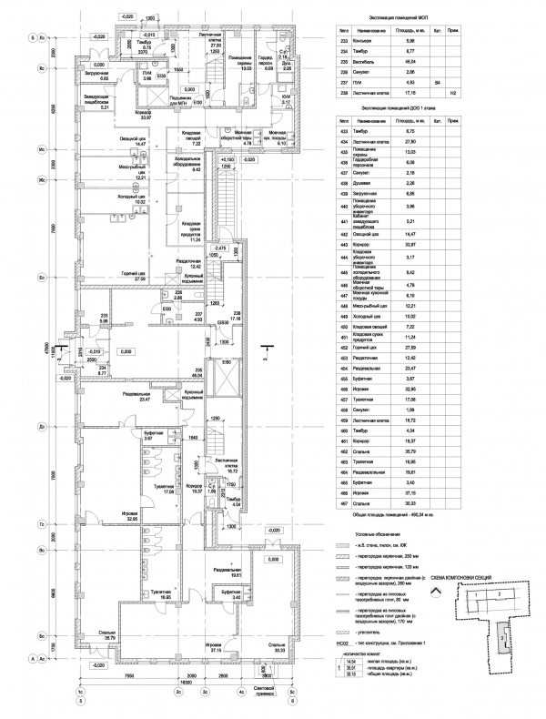 Section 3, plan of the 1st floor. ID Moskovskiy Copyright: © Liphart Architects