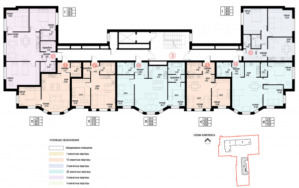 Section 3, plan of the 2nd floor. ID Moskovskiy Copyright: © Liphart Architects