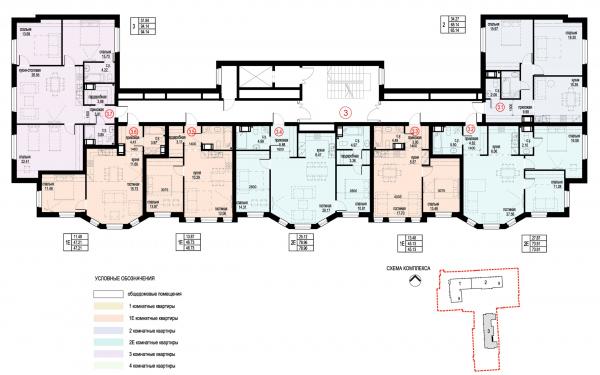 Section 3, plan of floors 4-6. ID Moskovskiy Copyright: © Liphart Architects