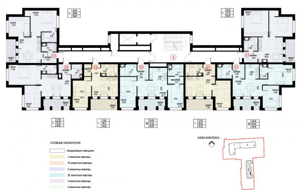Section 3, plan of the 10th floor. ID Moskovskiy Copyright: © Liphart Architects
