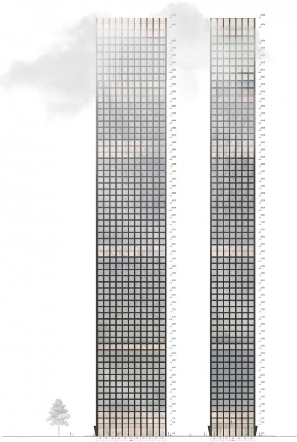 Symphony 34 housing complex. Tower A. Facades Copyright: © Kleinewelt Architekten