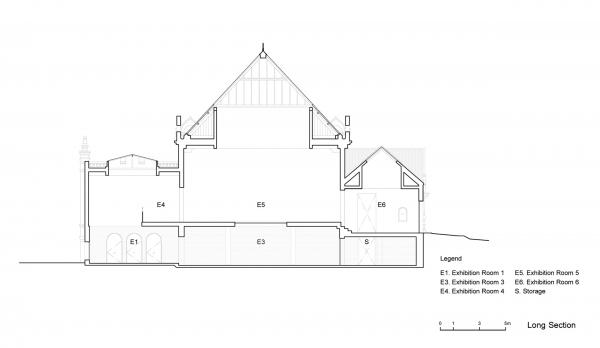 Проект реконструкции павильона России на биеннале в Венеции, 2020-2021. Продольный разрез © KASA