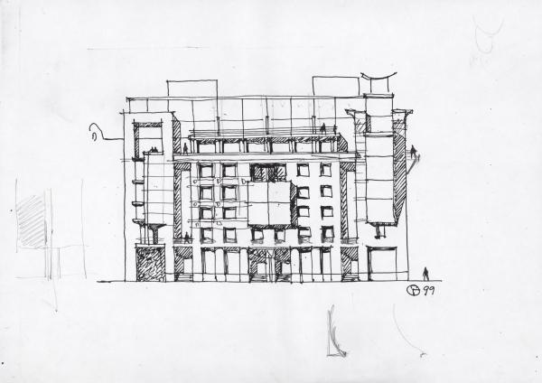 The residential house at Tverskaya, 6. A sketch Copyright: © Evgeniy Gerasimov & Partners