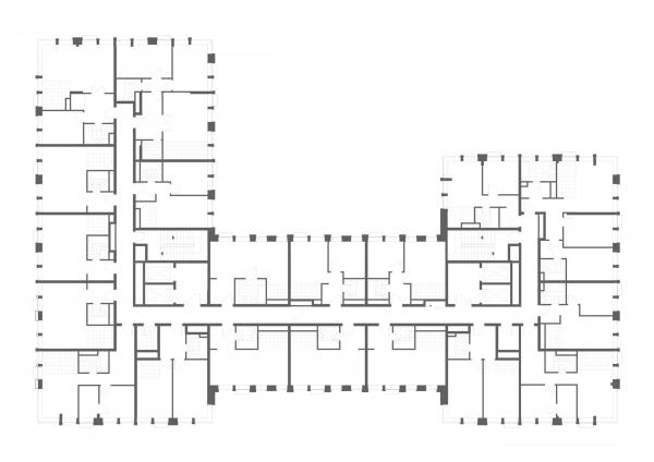 "План 2-8 этажа. Апартаментный комплекс ""Play"" © ADM"
