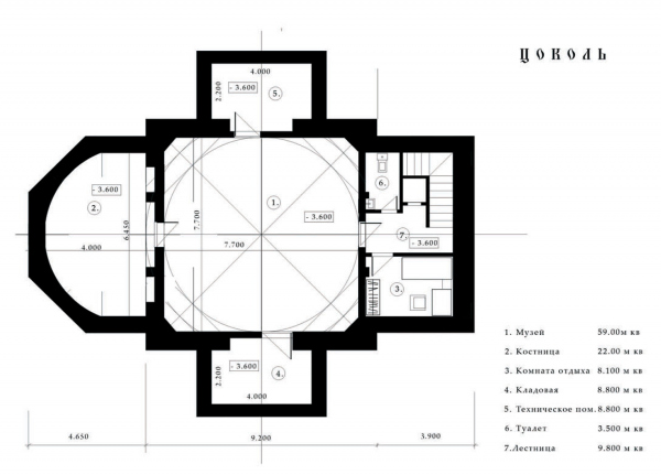 Layout of the basement tier. Church of the Beheading of John the Baptist at the Novodevichy Convent Copyright: © Utkin Studio